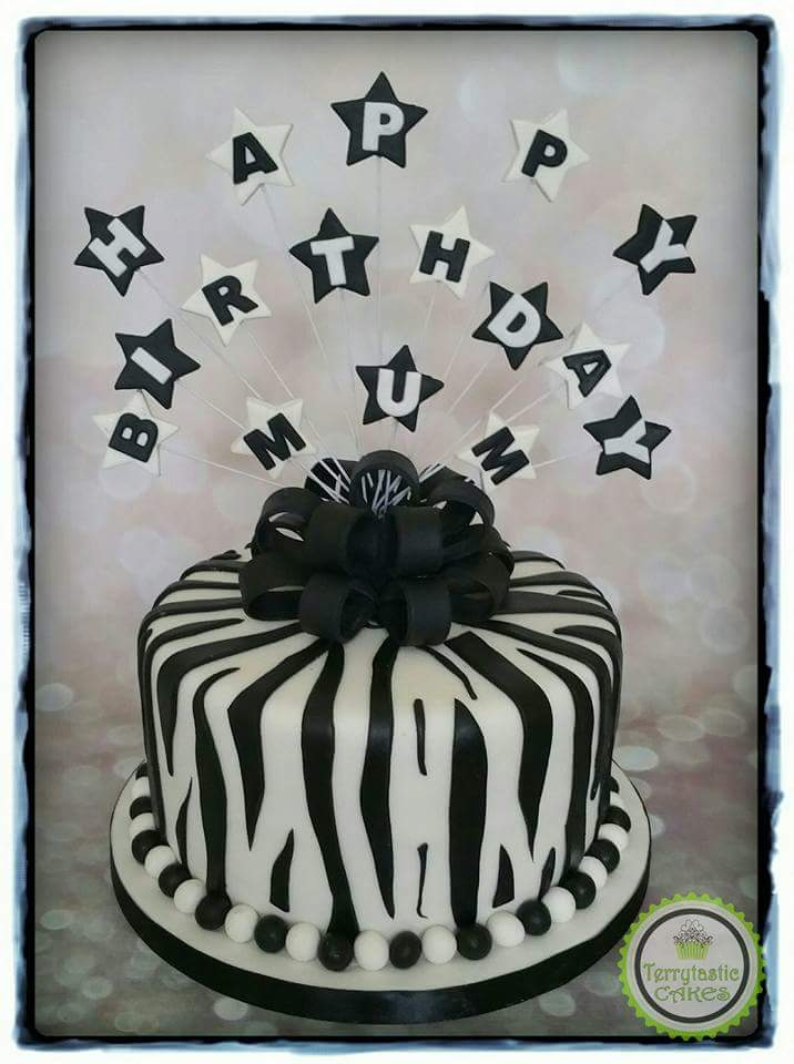 Remarkable Black White Zebra Print Cake Terrytastic Cakes Funny Birthday Cards Online Alyptdamsfinfo