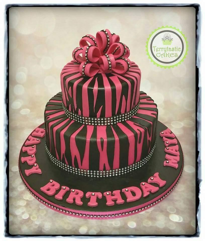 Enjoyable Black Pink Zebra Print Cake Terrytastic Cakes Funny Birthday Cards Online Alyptdamsfinfo