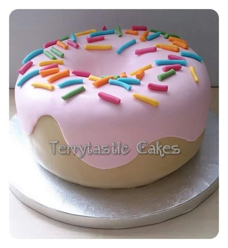 Giant Doughnut Birthday Cake With Sprinkles