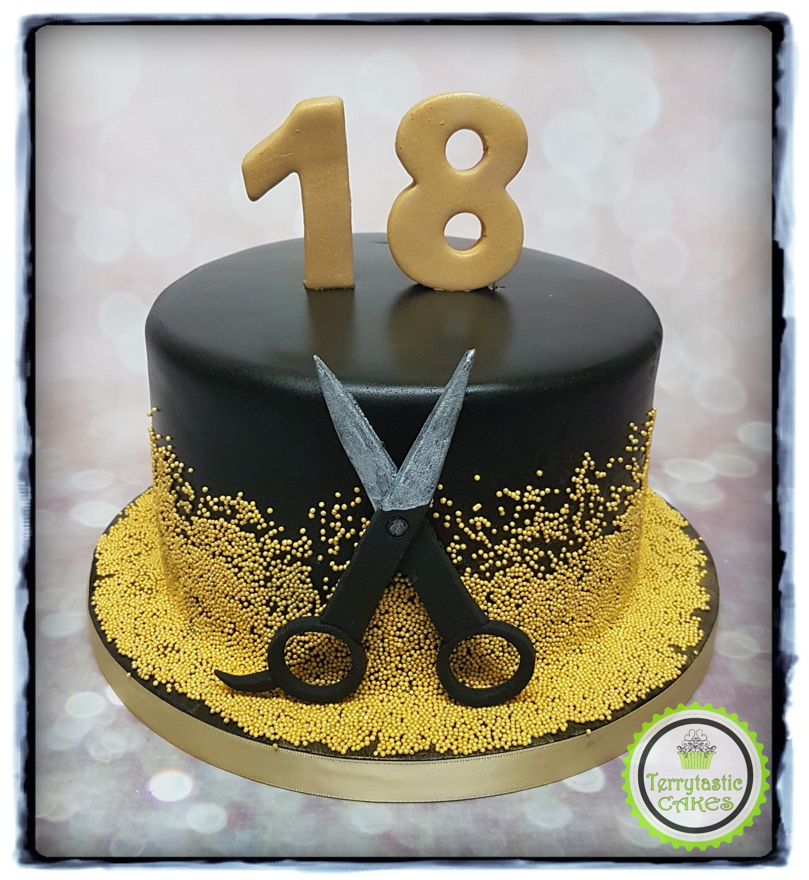 Black And Gold 18th Birthday Cake With Hairdresser Scissors