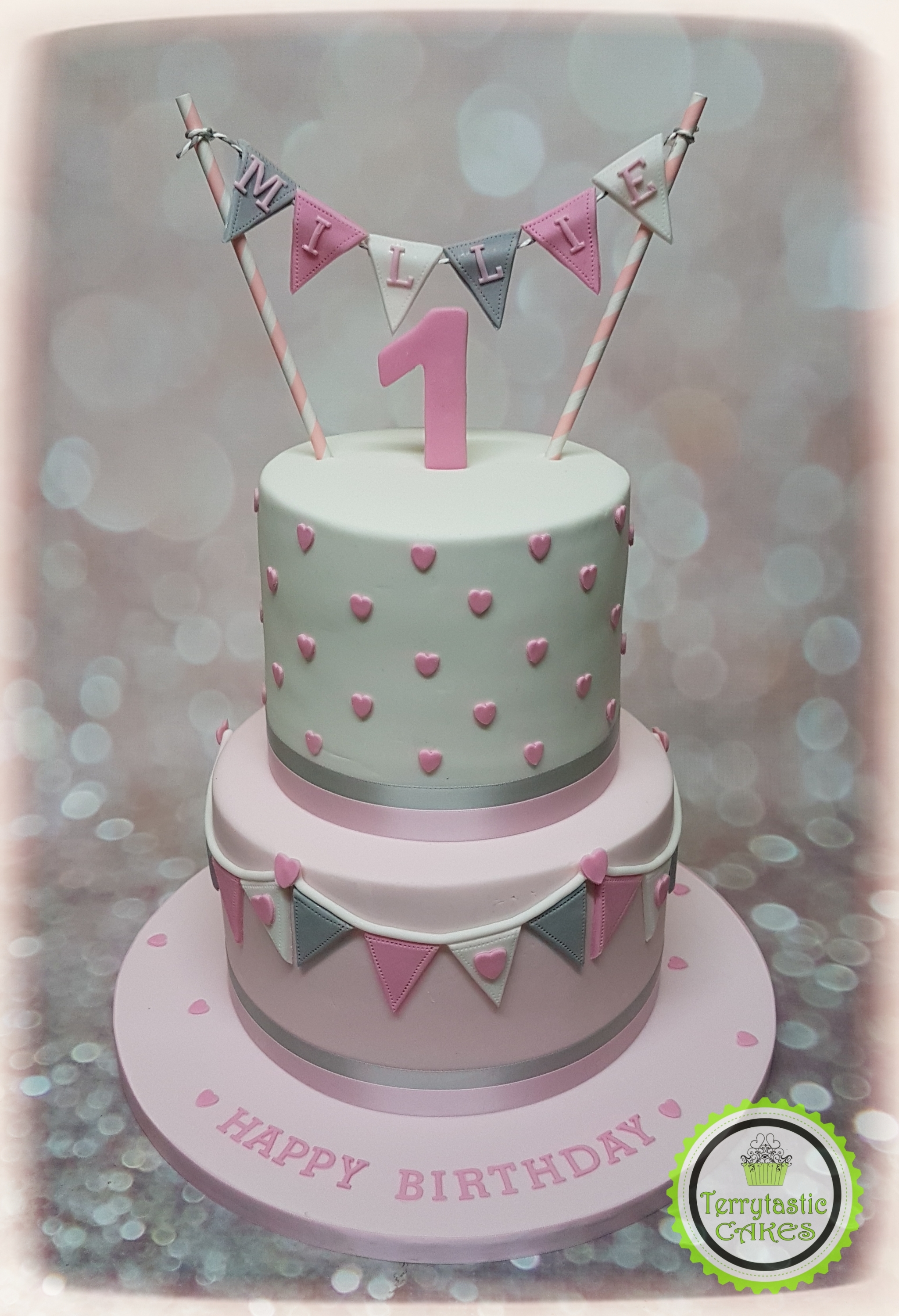 Pink Grey Bunting 1st Birthday Cake Girlg Terrytastic Cakes